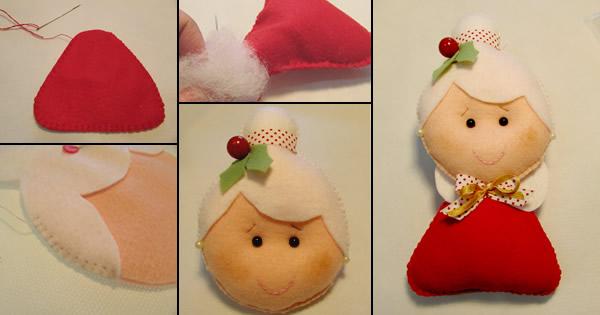 Boneca Mamãe Noel de Feltro Simples de Fazer