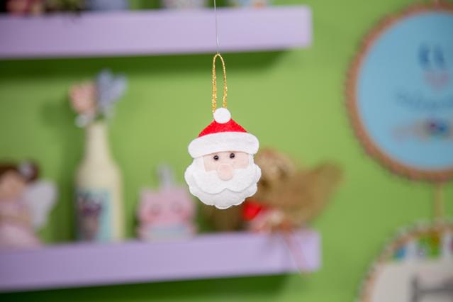 Enfeites de árvore de Natal em feltro - Papai Noel