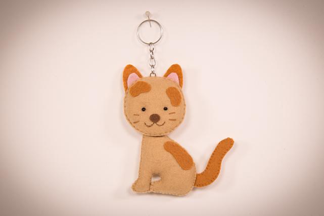 Chaveiro de gatinho de feltro