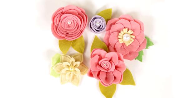 Flores de Feltro – 5 Modelos Com Passo a Passo e Molde para Baixar