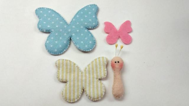 molde de borboleta em feltro