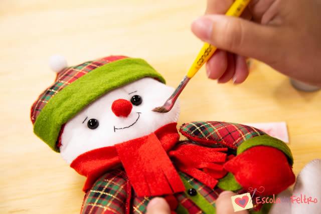 boneco de neve em feltro natal
