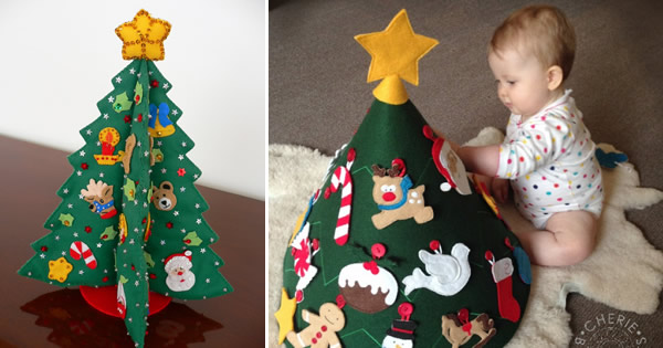 Árvore de Natal de Feltro – 17 Ideias para se Inspirar