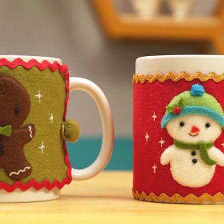 Protetor de Caneca em Feltro: Passo a Passo e Moldes de Natal