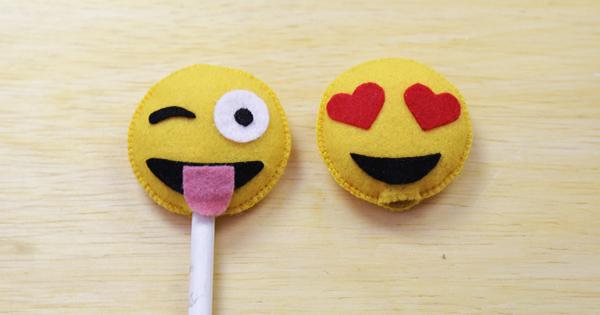 Ponteira de Lápis em Feltro – Passo a Passo + Molde de Emoji Grátis