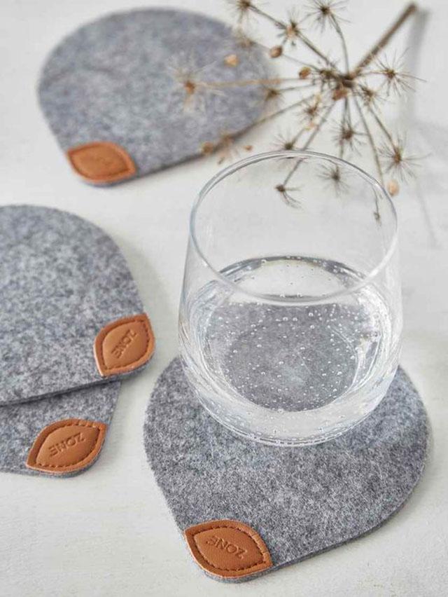 porta copos de feltro