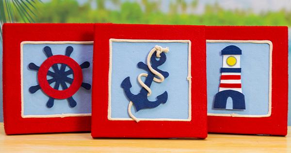Quadrinho Decorativo em Feltro – Tema Marinheiro com Molde Grátis