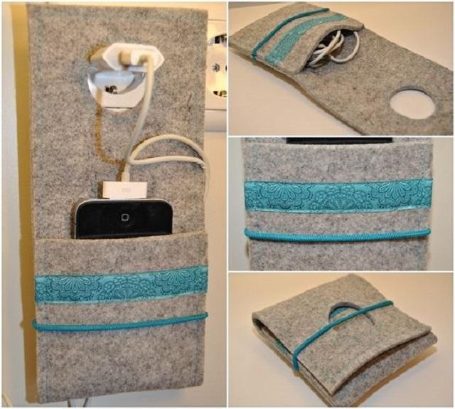 Porta carregador de celular cinza com detalhe azul
