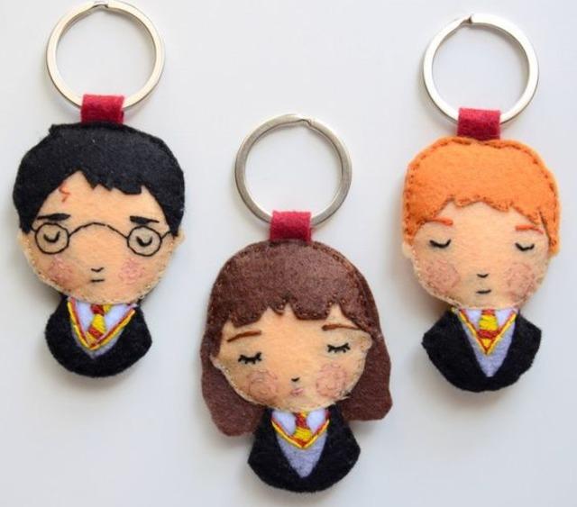 Chaveiros do Harry Potter, Hermione e Rony de feltro